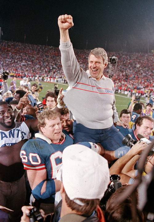 New York Giants coach Bill Parcells is carried off the field after the Giants defeated the Denver Broncos 39-20 in SuperBowl XXI. The Big Tuna went to Wichita State. (AP Photo/Eric Risberg, File)