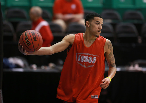 Scott Sommerdorf   |  The Salt Lake Tribune New Mexico's Kendall Williams during the New Mexico Lobos practice at Energy Solutions Arena, Wednesday, March 20, 2013.