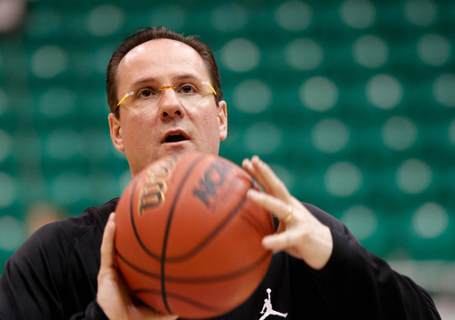 Trent Nelson  |  The Salt Lake Tribune Wichita State coach Gregg Marshall conducts drills as the Wichita State Shockers practice the day before their second round matchup with the Pittsburgh Panthers in the NCAA Men's Basketball tournament, Wednesday March 20, 2013 in Salt Lake City.
