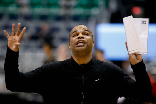 Trent Nelson  |  The Salt Lake Tribune Harvard coach Tommy Amaker gestures as Harvard practices the day before their second round matchup with New Mexico in the NCAA Men's Basketball tournament, Wednesday March 20, 2013 in Salt Lake City.