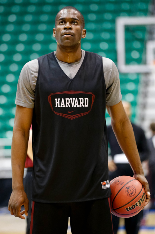Trent Nelson  |  The Salt Lake Tribune Harvard's Steve Moundou-Missi on the free throw line as Harvard practices the day before their second round matchup with New Mexico in the NCAA Men's Basketball tournament, Wednesday March 20, 2013 in Salt Lake City.