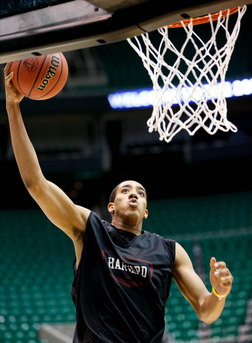 Trent Nelson  |  The Salt Lake Tribune Harvard's Kenyatta Smith (25) shoots the ball as Harvard practices the day before their second round matchup with New Mexico in the NCAA Men's Basketball tournament, Wednesday March 20, 2013 in Salt Lake City.
