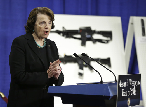 Sen. Dianne Feinstein, D-Calif. speaks during a news conference on Capitol Hill in Washington, Thursday, Jan. 24, 2013, to introduce legislation on assault weapons and high-capacity ammunition feeding devices.  (AP Photo/Manuel Balce Ceneta)