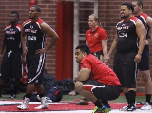 Leah Hogsten  |  The Salt Lake Tribune Utah defensive lineman Star Lotulelei in between performances. University of Utah football players go all out in front of NFL scouts, Wednesday, March 20, 2013 during Utah's Pro Day.