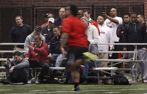 Leah Hogsten  |  The Salt Lake Tribune Utah defensive lineman Star Lotulelei runs the 40 in front of several watchful eyes. University of Utah football players go all out in front of NFL scouts, Wednesday, March 20, 2013 during Utah's Pro Day.