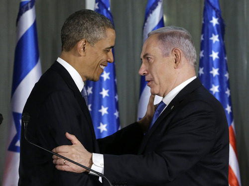 President Barack Obama and Israeli Prime Minister Benjamin Netanyahu shake hands as they participate in a joint news conference, Wednesday, March 20, 2013, at the prime minister's residence in Jerusalem. (AP Photo/Carolyn Kaster)