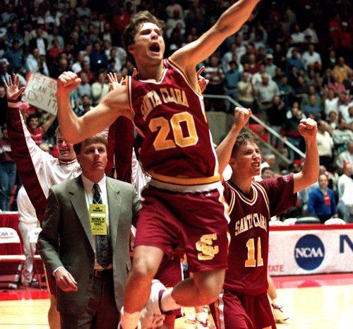 Mark Schmitz (20) and Steve Nash (11) of Santa Clara celebrate upset 64-61 win over Arizona March 18,1993 during the NCAA basketball tournament in  Salt Lake City. (AP Photo/Roberto Borea)