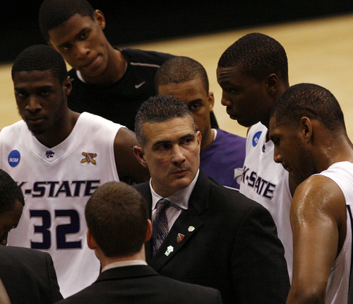 Scott Sommerdorf   The Salt Lake Tribune  Kansas State's Frank Martin face says it all as Butler leads Kansas State during the West Regional of the NCAA Tournament at EnergySolutions Arena, Saturday, March 27, 2010.