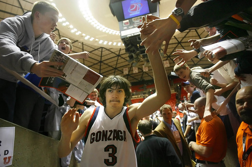 Salt Lake City,UT--3/18/06--8:21:38 PM- Gonzaga's Adam Morrison exits the arena following the game.  Indiana University Hoosiers vs Gonzaga University Bulldogs. Gonzaga won 90-80. ****************** NACC 2st Round at the Huntsman Center.  Chris Detrick/Salt Lake Tribune File #_2CD2446