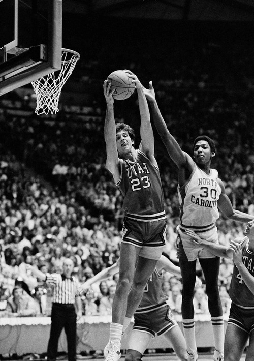 Utahís Danny Vranes, 23, gets the rebound from North Carolinaís Al Wood, 30, in their NCAA game in Salt Lake City, Utah, on Thursday, March 20, 1981. North Carolina won 61-56 and advances to Saturdayís finals. (AP Photo)