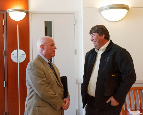 Trent Nelson  |  The Salt Lake Tribune Fiduciary Bruce Wisan and former FLDS spokesman Willie Jessop talk following a hearing on the UEP land trust Tuesday March 5, 2013 in Salt Lake City