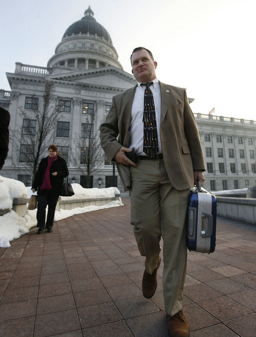 Scott Sommerdorf   |  The Salt Lake Tribune After a day on the hill, Clark Aposhian leaves the capitol complex, Wednesday, February 6, 2013. Aposhian spends long days advocating for gun rights at the capitol during the legislative session.