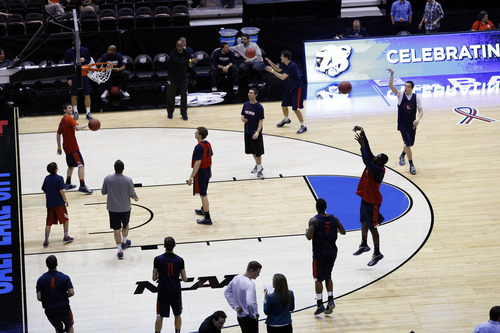 Chris Detrick     The Salt Lake Tribune Gonzaga Bulldogs shoot the ball during a practice at EnergySolutions Arena Wednesday March 20, 2013.