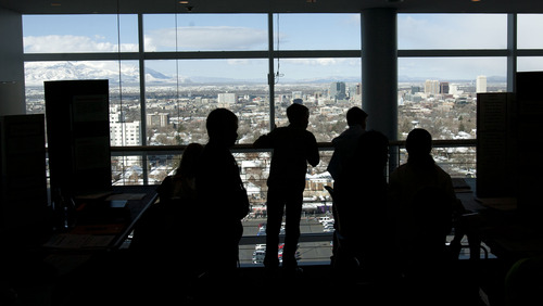 Steve Griffin  |  The Salt Lake Tribune Elementary school students in the Salt Lake Valley Science and Engineering Fair get a view of the city during Thursday's judging at University of Utah's Rice-Eccles Stadium.