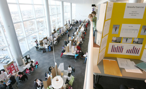 Steve Griffin  |  The Salt Lake Tribune Elementary school students in the Salt Lake Valley Science and Engineering Fair get a view of the city during Thursday's judging at the University of Utah's Rice-Eccles Stadium.