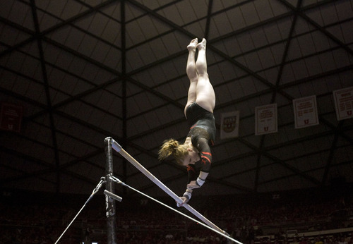 Kim Raff  |  The Salt Lake Tribune Utah gymnast Tory Wilson performs her routine on the uneven bars during a meet against Florida at the Huntsman Center in Salt Lake City on March 16, 2013. Utah went on to beat Florida in the meet.
