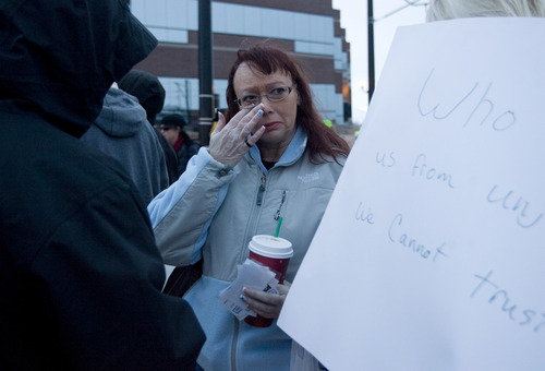 Kim Raff     The Salt Lake Tribune Melissa Kennedy, mother of Danielle Willard, wipes away a tear as she talks about her daughter during a gathering outside the West Valley City Hall for Danielle Willard, who was shot by West Valley Police on Nov. 2 as she sat in her car unarmed, in West Valley City on December 16, 2012.