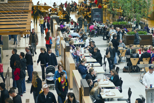 Chris Detrick  |  The Salt Lake Tribune Shoppers eat in the food court at City Creek Center Saturday March 9, 2013. The Center will celebrate its one year anniversary later this month.