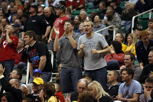 Trent Nelson  |  The Salt Lake Tribune  Gonzaga fans cheer as the Bulldogs face the Jaguars in the NCAA tournament at EnergySolutions Arena on Thursday, March 21, 2013.