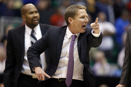 Trent Nelson  |  The Salt Lake Tribune  Gonzaga Bulldogs head coach Mark Few reacts as the Bulldogs face the Jaguars in the NCAA tournament at EnergySolutions Arena on Thursday, March 21, 2013.