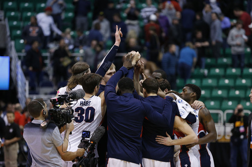 Trent Nelson  |  The Salt Lake Tribune  Gonzaga celebrates their win over Southern in the NCAA tournament at EnergySolutions Arena on Thursday, March 21, 2013.
