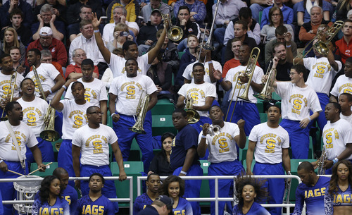 Trent Nelson  |  The Salt Lake Tribune  The Southern University band reacts to the game as they face Gonzaga in the NCAA tournament at EnergySolutions Arena on Thursday, March 21, 2013.