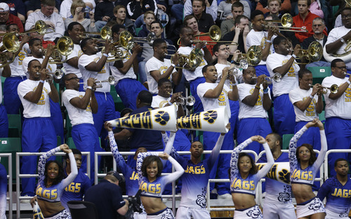 Trent Nelson  |  The Salt Lake Tribune  The Southern University band performs as they face Gonzaga in the NCAA tournament at EnergySolutions Arena on Thursday, March 21, 2013.