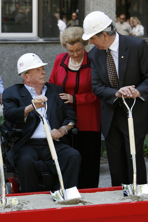 "Tribune file photo Well-known Utah businessman and benefactor L.S. ""Sam"" Skaggs died at his home in Salt Lake City early Thursday. He was 89. In this 2009 photo, he speaks with University of Utah President Michael Young during a groundbreaking for the U. College of Pharmacy, a $69 million research facility that will be named the L.S. Skaggs Pharmacy Institute."