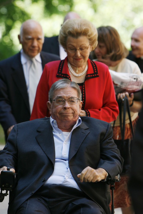 "Tribune file photo Utah businessman and benefactor L.S. ""Sam"" Skaggs died at his home in Salt Lake City early Thursday. He was 89. In this 2009 photo, Skaggs is accompanied by his wife Aline for the ground-breaking of the University of Utah College of Pharmacy, a $69 million research facility that will be named the L.S. Skaggs Pharmacy Institute."