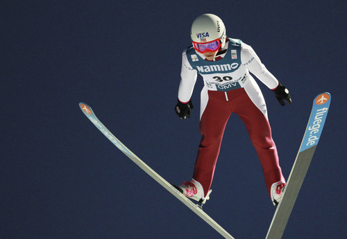 Sarah Hendrickson of USA in the air during the qualification for the women's FIS World Cup Ski Jumping event in Lillehammer, Norway Saturday Dec. 3, 2011. American teenager Sarah Hendrickson won the first women's World Cup ski jump on the same Lillehammer hill used by the men in the 1994 Winter Olympics.    (AP Photo/Geir Olsen/Scanpix Norway)