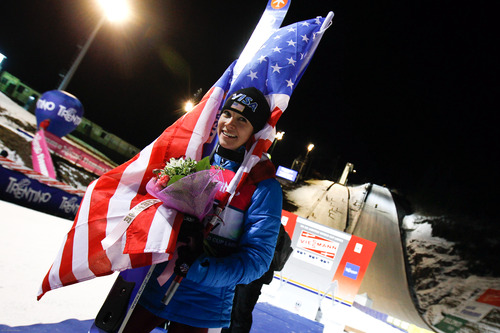 VAL DI FIEMME, ITALY - JANUARY 14: (FRANCE OUT) Sarah Hendrickson of the USA takes 1st place during the FIS Women's Ski Jumping World Cup HS106 on January 14, 2012 in Val di Fiemme, Italy. (Photo by Stanko Gruden/Agence Zoom/Getty Images)