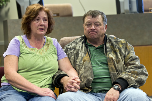 Chris Detrick  |  The Salt Lake Tribune Julie and Derk Jones talk about their son, Elam Jones, in Huntington Saturday March 23, 2013.  Elam Jones, 29, was killed in a roof collapse at the Rhino Mine near the mouth of Huntington Canyon in Emery County.