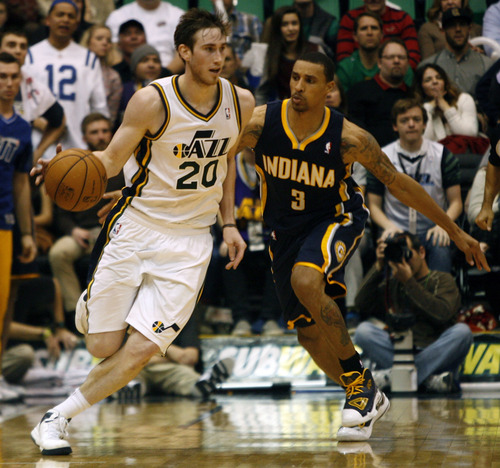 Rick Egan  | The Salt Lake Tribune   Jazz shooting guard Gordon Hayward (20) made himself a lot of NBA money with his performance in the 2010 NCAA Tournament.