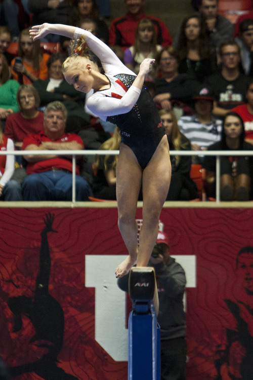 Chris Detrick  |  The Salt Lake Tribune Utah's Georgia Dabritz looses her balance on the beam on the during the meet against Arizona State at the Huntsman Center Friday February 1, 2013. Utah won 196.425 to 195.450.