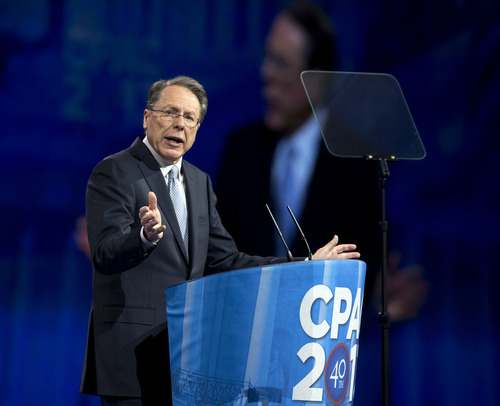 National Rifle Association CEO Wayne LaPierre, speaks at the 40th annual Conservative Political Action Conference in National Harbor, Md., Friday, March 15, 2013.  (AP Photo/Manuel Balce Ceneta)