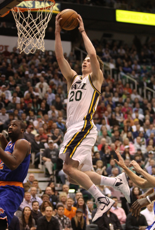Rick Egan  | The Salt Lake Tribune   Utah Jazz shooting guard Gordon Hayward (20) goes for a layup, in NBA action, Utah Jazz vs. The New York Knick's, at Energy Solutions Arena, Monday, March 18, 2013.