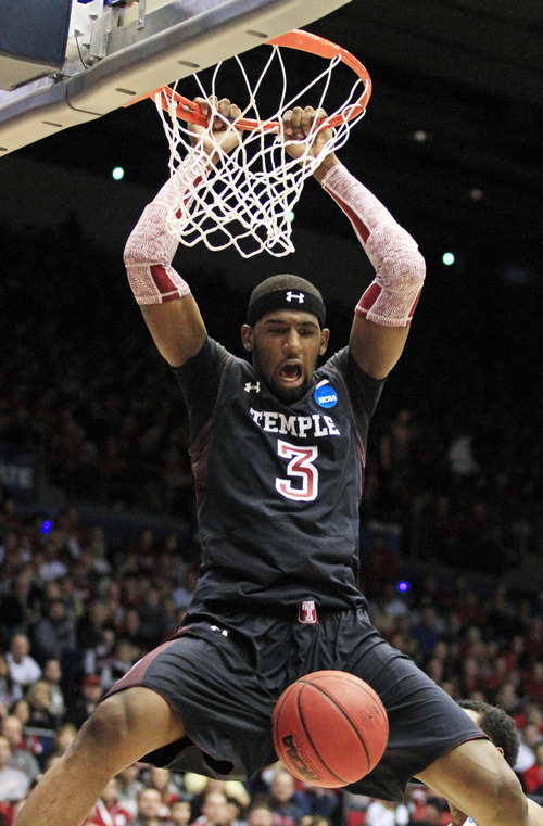 Temple forward Anthony Lee dunks against Indiana in the first half of a third-round game of the NCAA college basketball tournament, Sunday, March 24, 2013, in Dayton, Ohio. (AP Photo/Skip Peterson)