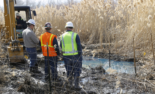 Al Hartmann  |  The Salt Lake Tribune Workers look at an impacted area from a leak from a Chevron pipeline between Willard Bay North Marina and I-15 Tuesday March 19. The leak was detected Monday. Authorities said the leak was contained in retaining ponds and none went into Willard Bay.