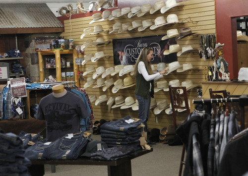 Al Hartmann  |  The Salt Lake Tribune Burns Saddlery has been in business since 1876.  The Salina retail store is at 79 W. Main St. The company makes its own saddles, hats and line of boots.