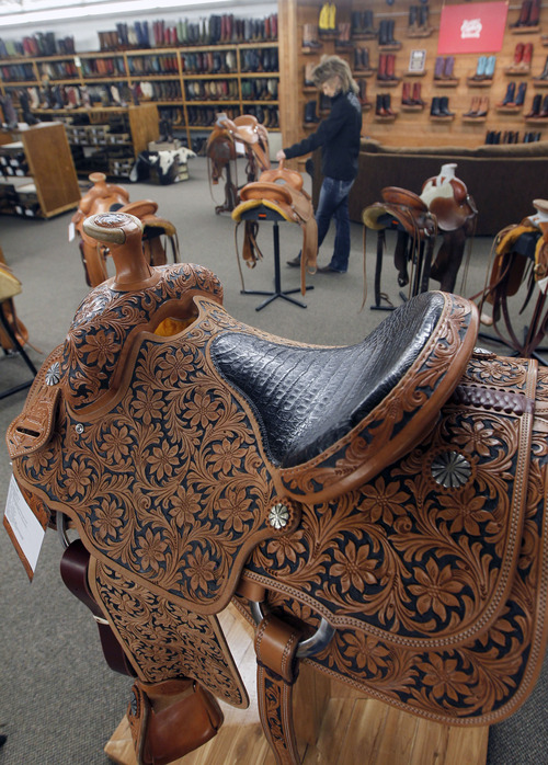 Al Hartmann  |  The Salt Lake Tribune Burns Saddlery has been in business since 1876.  The Salina retail store is at 79 W. Main St. The company makes its own custom saddles, hats and line of boots.
