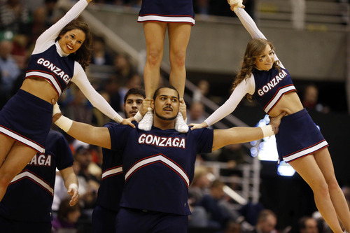 Scott Sommerdorf     The Salt Lake Tribune  Gonzaga cheerleaders perform as the Bulldogs face the Shockers in the NCAA tournament at EnergySolutions Arena on Saturday, March 23, 2013.