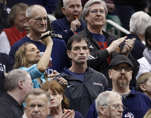 Trent Nelson     The Salt Lake Tribune  John Stockton watches the game as the Bulldogs face the Shockers in the NCAA tournament at EnergySolutions Arena on Saturday, March 23, 2013.