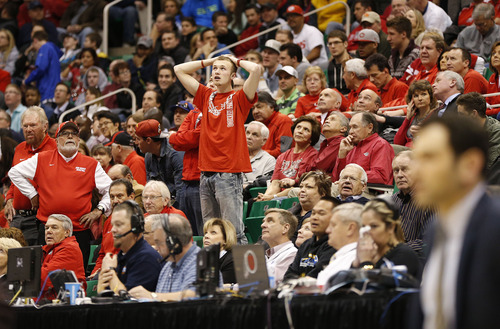 Trent Nelson     The Salt Lake Tribune  A Lobos fan holds his head as Harvard beats New Mexico in the NCAA tournament at EnergySolutions Arena on Thursday, March 21, 2013.