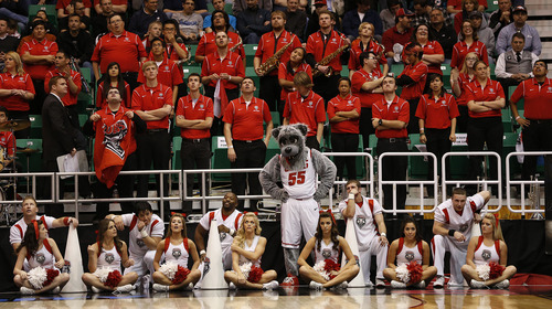 Trent Nelson     The Salt Lake Tribune  The Lobos cheerleaders, pep band and mascot look on as New Mexico trails Harvard at the end of their game in the NCAA tournament at EnergySolutions Arena on Thursday, March 21, 2013.