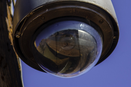 Trent Nelson  |  The Salt Lake Tribune A close up view of a surveillance camera mounted on what appears to be a public utility pole in Hildale, Utah. Monday, February 18, 2013.