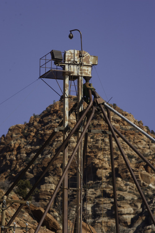 Trent Nelson  |  The Salt Lake Tribune A surveillance camera mounted on top of a granary in Hildale, Utah. Monday, February 18, 2013.