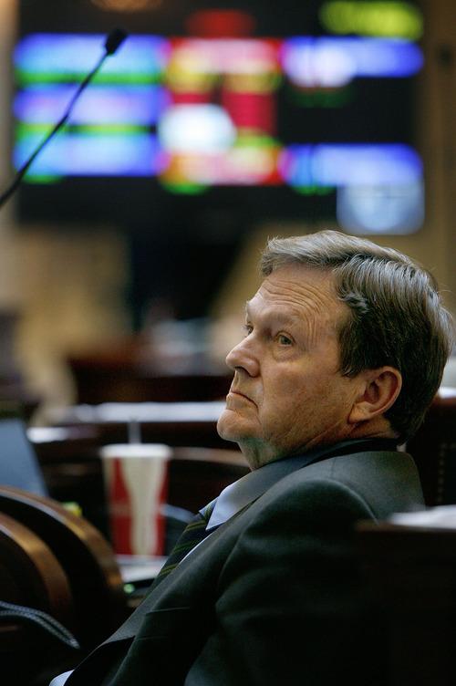 Scott Sommerdorf     Salt Lake Tribune LEGISLATURE Senator Jerry Stevenson (R; Layton) in the Utah Senate, Monday, 2/8/2010.