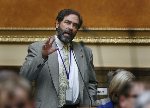 """Scott Sommerdorf      The Salt Lake Tribune Rep. Brian King, D-Salt Lake City, speaks to HB228 - Alcoholic Beverage Control Act Amendments - and says that his friends have told him they feel """"the Zion Curtain"""" is """"just weird"""" in the Utah House of Representatives, Thursday, March 14, 2013."""