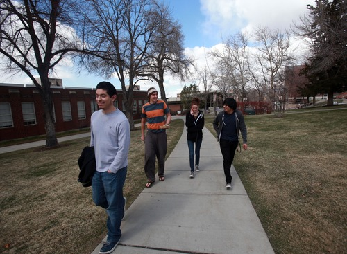Kim Raff  |  The Salt Lake Tribune (from left) Jacob Villalpando, Thomas Miller, Annie Best and Kevin Martinez walk on the campus of Westminster College in Salt Lake City on March 24, 2013. Westminster College was one of several universities and colleges that recently raised funds for improvements.