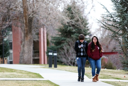 Kim Raff  |  The Salt Lake Tribune (left) Sophia Garcia and Jerenny Alonso walk on the campus of Westminster College in Salt Lake City on March 24, 2013. Westminster College was one of several universities and colleges that recently raised funds for improvements.